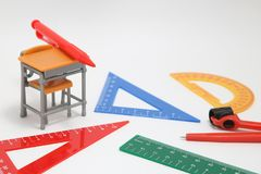 School supplies used in math class, geometry or science.  Mathematics geometry tool for student in math class on white background. School supplies used in math Royalty Free Stock Images