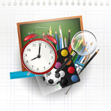 School supplies - vector background Stock Images