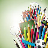 School supplies - vector background Royalty Free Stock Photo