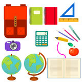 School supplies vector clip art objects. Royalty Free Stock Photography