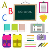 School supplies vector clip art objects. Stock Image