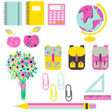 School supplies vector clip art stationery objects. Royalty Free Stock Photos
