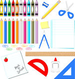 School supplies vector. School supplies clip art  on white background, in vector format very easy to edit, individual objects Royalty Free Stock Images
