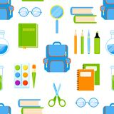 School supplies vector seamless pattern. Stock Image