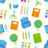 School supplies vector seamless pattern. Royalty Free Stock Photography
