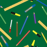 School supplies. Vector school seamless pattern, gradient mes used Royalty Free Stock Image