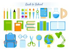 School supplies vector set. Royalty Free Stock Photos