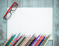 School supplies on Vintage old blue Wood Texture Background. Royalty Free Stock Photo