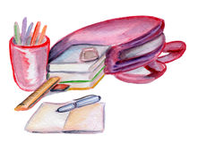 School supplies watercolor. School supplies as like backpack, books, pens, pencils, ereaser, notebook, rule in watercolor on a white background Stock Image
