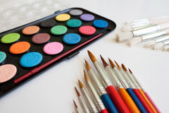 School supplies watercolor and brush Royalty Free Stock Photography