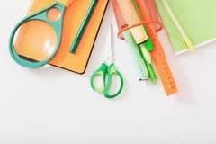 School supplies on white background stock photos