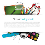School supplies on white background Stock Photos