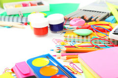 School supplies on a white background Royalty Free Stock Image
