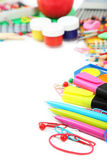 School supplies on the white background Stock Photography