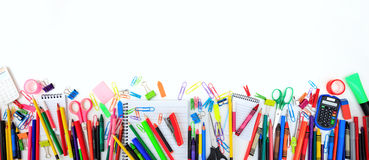 School supplies on white background. Copy space Royalty Free Stock Images