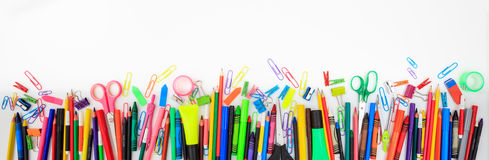 School supplies on white background. Copy space Royalty Free Stock Photography