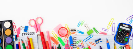 School supplies on white background. Copy space Stock Photos
