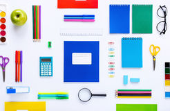 School supplies on a white background Royalty Free Stock Photo