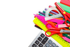 School supplies on white background Royalty Free Stock Images
