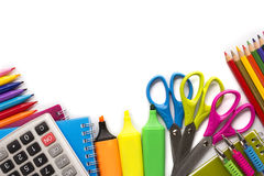 School supplies on white background Royalty Free Stock Photos