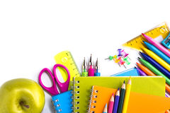 School supplies on white background Stock Photo