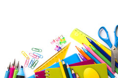 School supplies on white background Stock Photography
