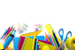 School supplies on white background Royalty Free Stock Photography