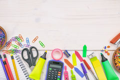School supplies on white background. Space for caption Royalty Free Stock Photo