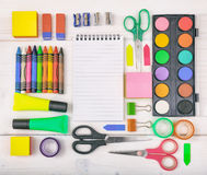 School supplies on white background. Space for caption Stock Photo