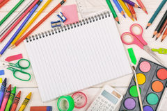 School supplies on white background. Space for caption Royalty Free Stock Images