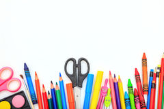 School supplies on white background. Space for caption Royalty Free Stock Photography
