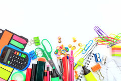School supplies on white background. Space for caption Royalty Free Stock Photos