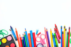 School supplies on white background. Space for caption Stock Photos