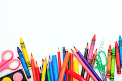 School supplies on white background. Space for caption Stock Images