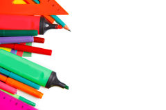 School supplies on white background Stock Image