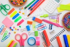School supplies on white background. Variety of school supplies on white background Stock Photo