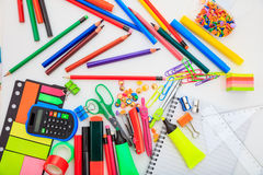 School supplies on white background. Variety of school supplies on white background Royalty Free Stock Images