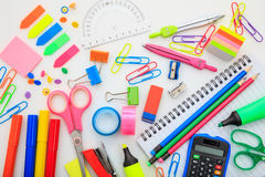 School supplies on white background. Variety of school supplies on white background Royalty Free Stock Photo