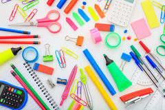 School supplies on white background. Variety of school supplies on white background Royalty Free Stock Photos