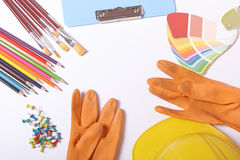 School supplies on white background Stock Images