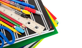 School supplies on white with copy space Stock Image