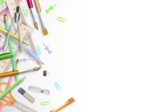 School supplies on white with copyspace. EPS 10 Royalty Free Stock Images