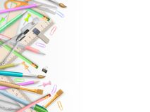 School supplies on white with copyspace. EPS 10 Stock Photos