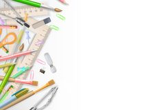School supplies on white with copyspace. EPS 10 Royalty Free Stock Image