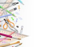 School supplies on white with copyspace. EPS 10 Stock Photo