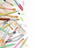 School supplies on white with copyspace. EPS 10. Vector file included Stock Photography