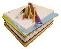 School Supplies on white with path. School supplies on white background with pen, pencils, rulers, paper and folders with clipping path stock images