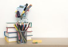 School supplies on wood table background. empty copy space royalty free stock photos