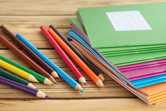 School supplies. On wooden background Stock Photo