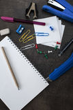 School supplies on wooden background Stock Images